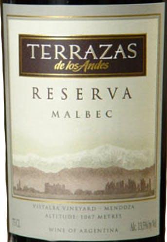 Terrazas De Los Andes Reserva Malbec 2016